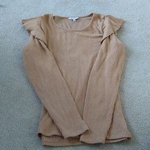 Sweater, camel color with ruffles at shoulders